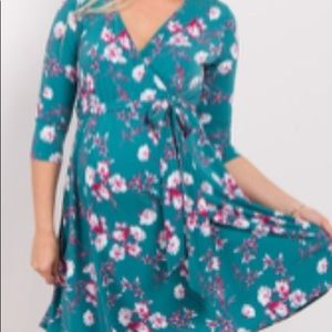Teal floral faux wrap maternity dress